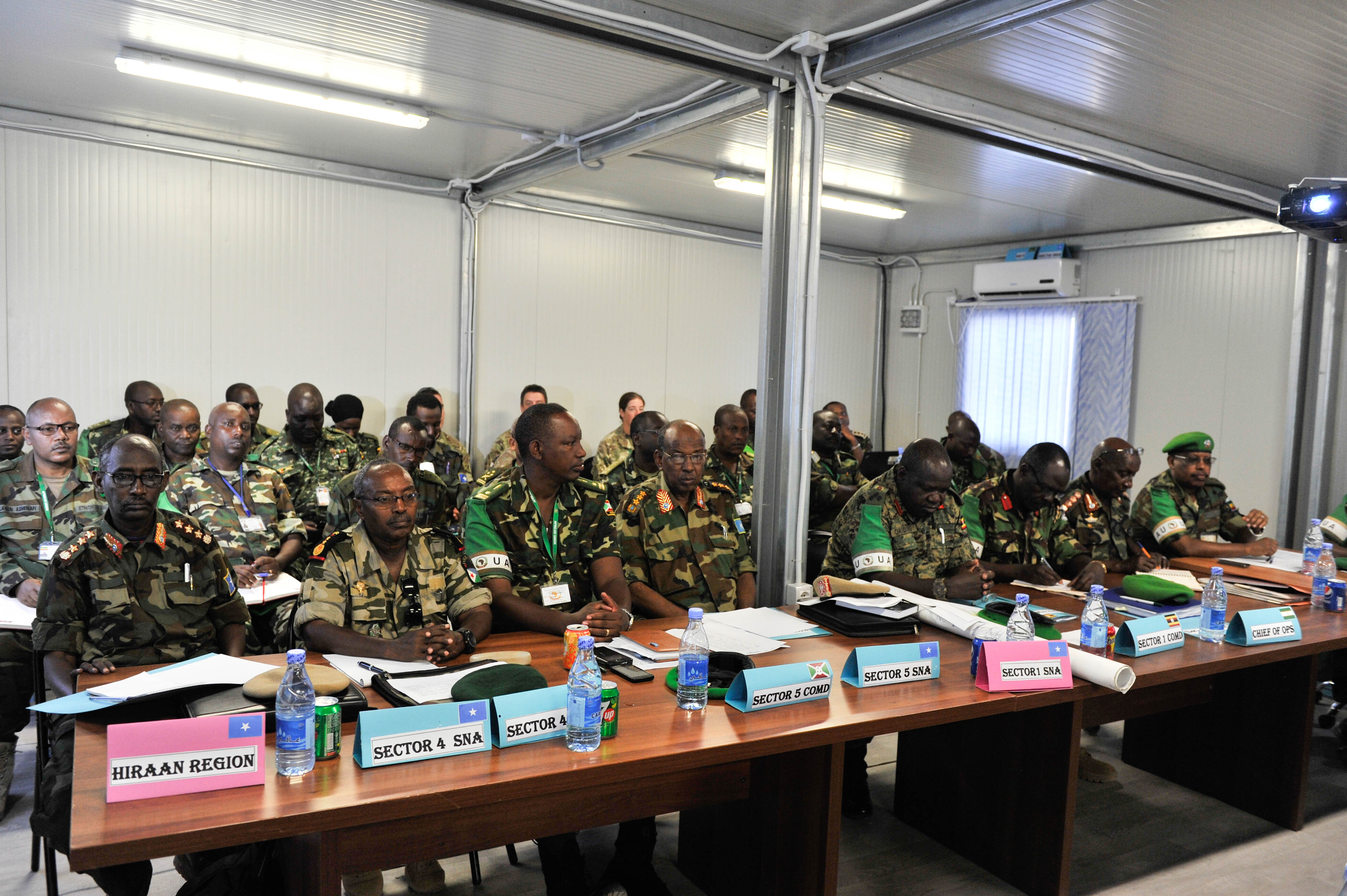 Senior officers from the Somalia National Army (SNA), and the African Union Mission in Somalia (AMISOM), attend a joint sector commanders' conference in Mogadishu on August 4, 2016. AMISOM Photo / Omar Abdisalan