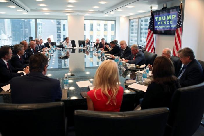 Republican presidential nominee Donald Trump conducts a round table discussion on security at Trump Tower in the Manhattan borough of New York, U.S., August 17, 2016. REUTERS/Carlo Allegri