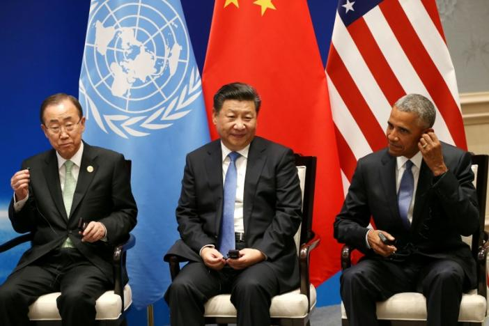 U.S. President Barack Obama, Chinese President Xi Jinping and UN Secretary General Ban Ki-moon sit together, before the G20 Summit, in Hangzhou