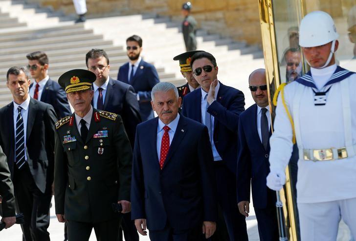 Turkey's Prime Minister Binali Yildirim leaves Anitkabir in Ankara