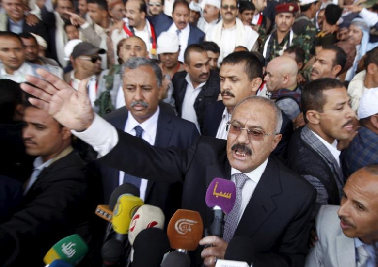 File photo of Yemen's former President Ali Abdullah Saleh addressing his supporters during a rally in Yemen's capital Sanaa